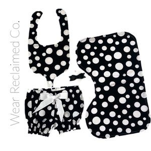 New Custom 0-3 M Bib, Burp Cloth, Diaper Cover,Bow
